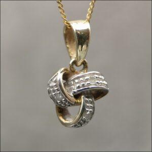 9ct Gold Diamond Knot Necklace Antique Jewellery