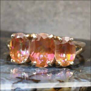 9ct Gold Three Stone Twilight Mystic Topaz Ring Antique Jewellery