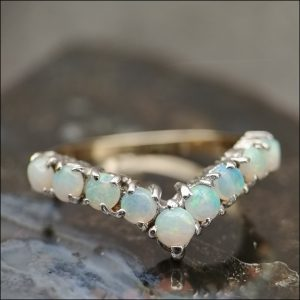 9ct Gold Solid Fiery Opal Wishbone Ring Antique Jewellery