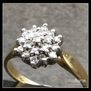 18ct Gold Diamond Cluster Ring Antique Jewellery
