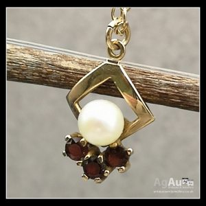 9ct Gold Seed Pearl And Garnet Necklace Antique Jewellery