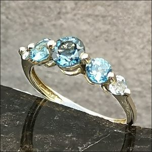 9ct Gold Blue Topaz Five Stone Ring Antique Jewellery