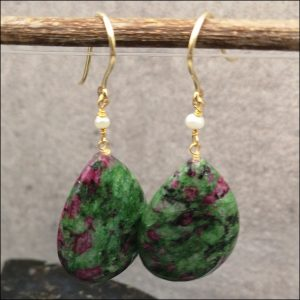 9ct Gold Pair of Large Ruby Fuchsite Gem Stone Drop Earrings Antique Earrings