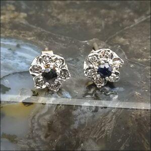 9ct Gold Pair of Diamond & Sapphire Cluster Stud Earrings Antique Earrings