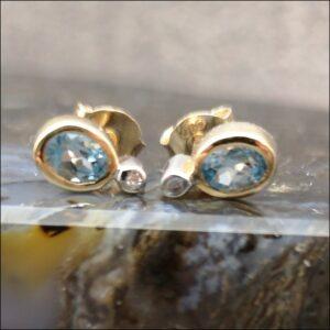 9ct Gold Blue Topaz & Diamond Stud Earrings Antique Earrings