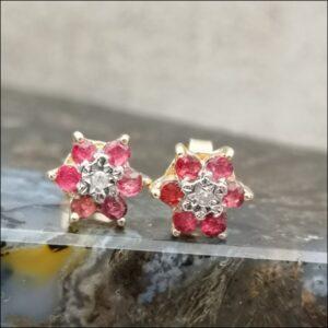 9ct Gold Ruby & Diamond Flower Cluster Stud Earrings Antique Earrings