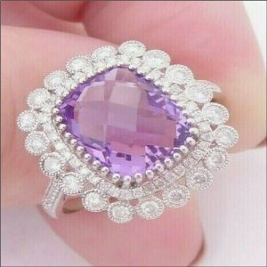 18ct White Gold Amethyst (3.5ct) and Diamond (1ct) Ring Antique Jewellery