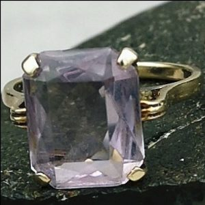 9ct Gold Emerald Cut Amethyst (3ct) Solitaire Ring Antique Jewellery