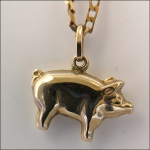 """9ct Gold 18"""" Necklace And Pig Pendant And Matching Earrings Set Antique Earrings"""