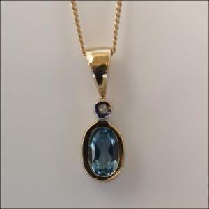 9ct Gold Blue Topaz & Diamond Necklace Antique Jewellery