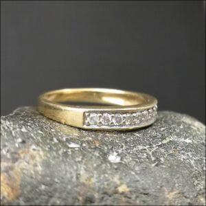 9ct Gold 0.25ct Diamond Half Eternity Ring Antique Jewellery