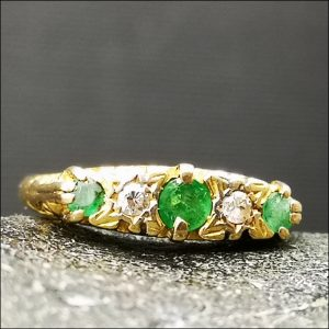 18ct Gold Diamond and Emerald Ring d.1912 Antique Jewellery