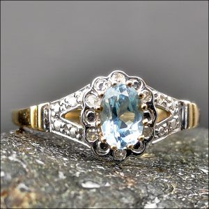 9ct Gold Blue Topaz and Diamond Ring Antique Jewellery