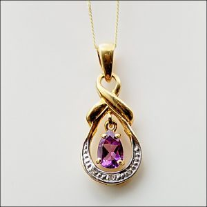 9ct Gold Pear Drop Amethyst & Diamond Pendant with Chain Miscellaneous