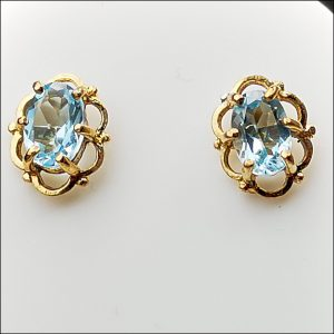 9ct Yellow Solid Gold Blue Topaz Stud Earrings Antique Earrings