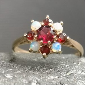 9ct Gold Ruby and Opal Flower Ring Antique Jewellery