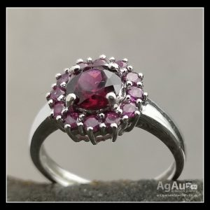 9ct White Gold Amethyst Cluster Ring Antique Jewellery