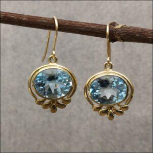 9ct Gold Blue Topaz Drop Dangly Earrings Antique Earrings