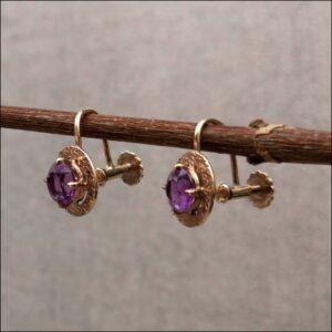 9ct Gold Amethyst Screw Earrings Antique Earrings