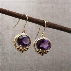 9ct Gold Pair of Amethyst Drop Earrings Antique Earrings