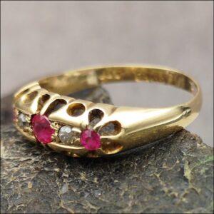 18ct Gold Edwardian Ruby & Diamond Ring Antique Jewellery