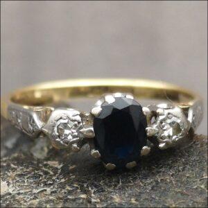 18ct Gold Edwardian Sapphire & Diamond Ring Antique Jewellery