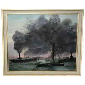"""Marine Oil Painting London """"Busy Thames"""" Steam Ships Signed Philip Burgess Allen art Vintage"""