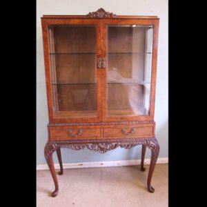 Figured Walnut Glazed Display Cabinet