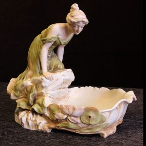 Antique Royal Dux Centre Piece of Young Girl Looking in Pond