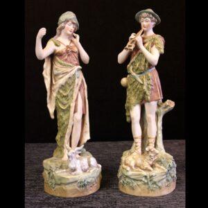 Pair of Royal dux Figures of Goat Herders