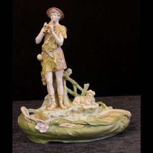 Antique Royal Dux Figure of Piper Standing at Pond