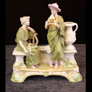 Antique Royal Dux Centre Piece of Young Girl and Boy Playing Pipes