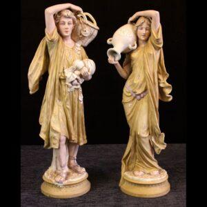 Large Pair Antique Royal Dux Figures