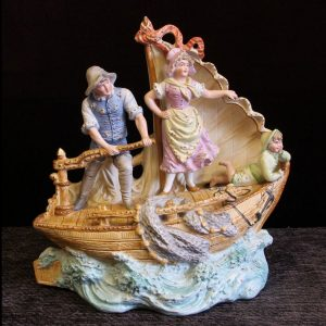 Antique Bisque Centre Piece of Fishing Boat