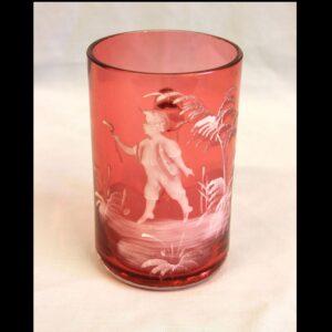 Antique Mary Gregory Cranberry Glass Mug