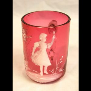 Antique Mary Gregory Cranberry Glass Mug.