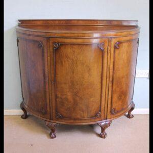 Figured Walnut Demi Lune Sideboard Side Cabinet