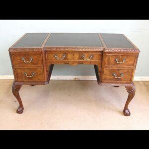 Quality Burr Walnut Kneehole Writing Desk