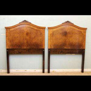 Antique Pair of Figured Walnut Single Headboards