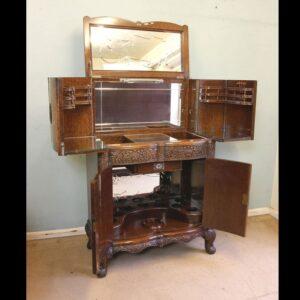 Antique Impressive Burr Oak Cocktail Drinks Cabinet