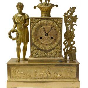 19thc French ormolu mantel clock circa 1830 with original gilding Antique Clocks