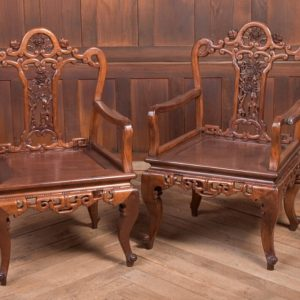 Beautiful Pair Of 19th Century Hardwood Carved Chinese Arm Chairs SAI2213 Antique Furniture