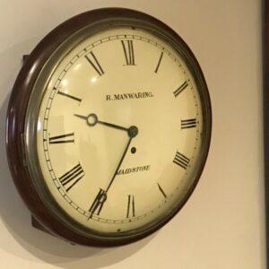 Antique Wall clock convex dial fusee mahogany cased round circa 1820' Antique Clocks