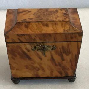 Tortoise shell tea caddy Antique Boxes