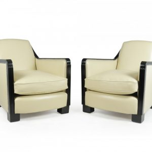 A Pair of art Deco Leather Armchairs Antique Chairs