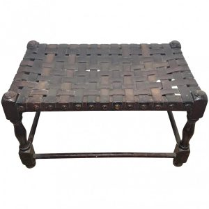 Art Deco Oak & Leather Strapped Brass Studded Footstool art deco Antique Stools
