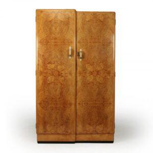 Art Deco Gentleman's Wardrobe in Burr Maple c1931 art deco wardrobe Antique Furniture
