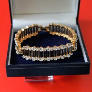A Vintage Designer 50s Black Enamel RHINESTONE BRACELET – Boxed Jewellery / Birthday Present A B Necklace Antique Jewellery