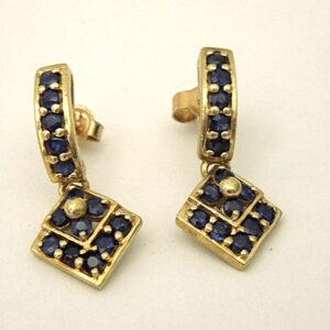 Vintage 9ct Gold Sapphire Cluster Drop Earrings drop earrings Antique Earrings
