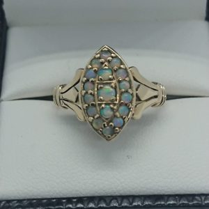 Vintage 9ct Gold 17 Stone Fiery Opal Ring Opal cluster Antique Jewellery